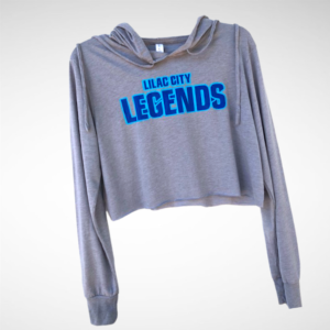 Ladies Grey Lilac City Legends Cropped Long Sleeve Hooded T-Shirt